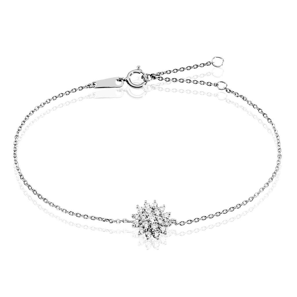 Bracelet Fleur en Argent 925//1000 et Oxyde de Zirconium