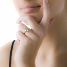 Bague Solitaire Abriel Or Blanc Oxyde De Zirconium - Bagues Solitaire Femme | Marc Orian