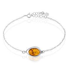 Bracelet Hilda Argent Blanc Ambre - Bracelets chaînes Femme | Marc Orian