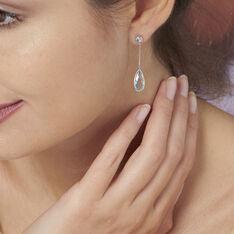 Boucles D'oreilles Or Blanc Topaze - Boucles d'oreilles Pendantes Femme | Marc Orian