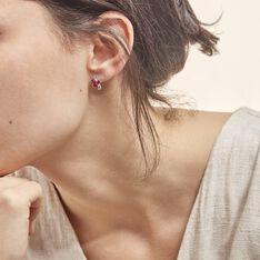 Boucles D'oreilles Puces Angie Or Blanc Diamant Et Rubis - Clous d'oreilles Femme | Marc Orian