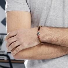 Bracelet Houria Acier Blanc Pierre De Synthese Et Olivine - Bracelets Homme | Marc Orian