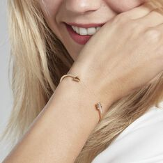 Bracelet Jonc Lidye Plaque Or Jaune Oxyde De Zirconium - Bracelets fantaisie Femme | Marc Orian