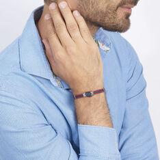Bracelet Acier Cordons Marine Rouge 21cm - Bracelets cordons Homme | Marc Orian