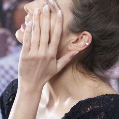 Boucles D'oreilles Puces Nazra Argent Blanc - Clous d'oreilles Femme | Marc Orian