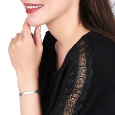 Bracelet Identité Clementine Maille Gourmette Argent Blanc - Gourmettes Femme   Marc Orian