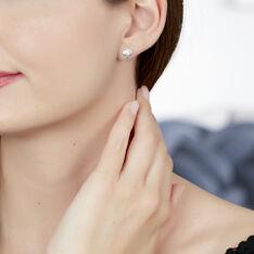Boucles D'oreilles Puces Zelia Argent Blanc - Clous d'oreilles Femme | Marc Orian