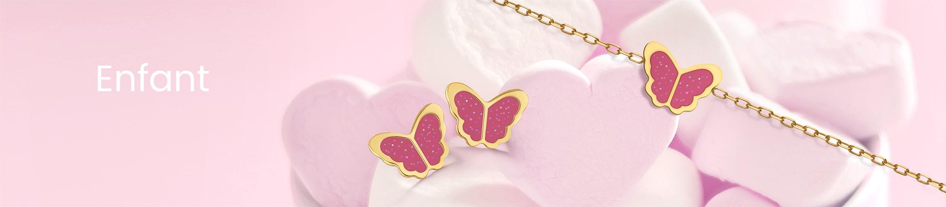 Bijoux enfant boucles d'oreilles or jaune papillon
